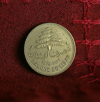 5 Piastres 1972 Lebanon World Coin KM25.2 Cedar tree wreath Middle East