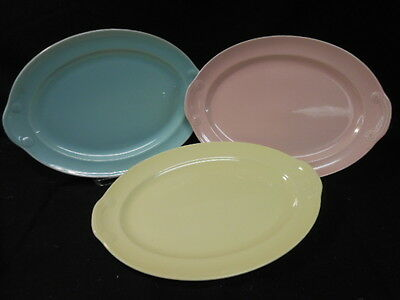 """3 Vintage Lu-Ray Pastels 13.5"""" Oval Platters, Pink/Green/Yellow"""