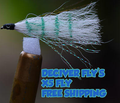 5x Fly Fishing  Saltwater Deceiver Fly's lure intimation white bait flys Bream