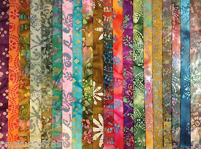 "(20)  2.5"" Quilters Batik Jelly Roll Strips (No Duplicates)   SET 1 of  4"