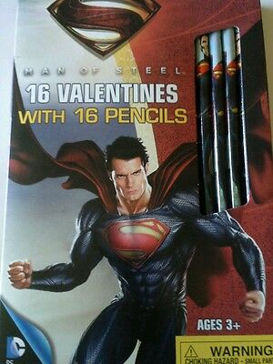 BRAND NEW MAN of STEEL VALENTINES WITH PENCILS