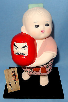 Japanese Hakata Doll Kon Kurabe With Display Base