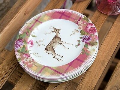 Katie Alice Highland Fling Tartan Stag Shabby Chic Side Plate