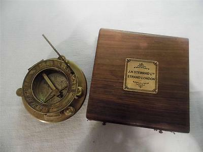 Vintage Antique Style Aged Brass Compass Sundial-J.m.stewart-Strand-London-Boxed