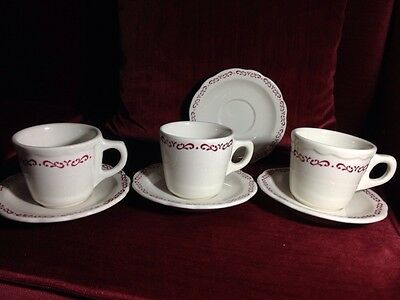 Vintage Buffalo China Red/ 3 Cups& Saucers, 1 extra Saucer.