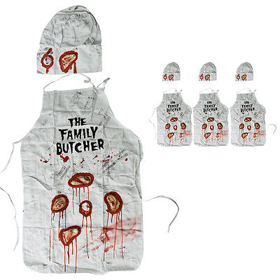 3 Halloween Costume Bloody Family Butcher Apron Hat Horror Men One Size Fit All