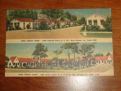ZU673 Vintage Multi-View Linen Postcard The Pines Tourist Courts New Orleans