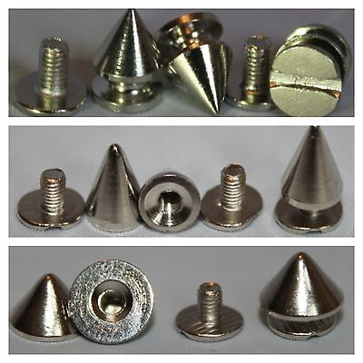 100 x Punk Spike Cone Screw Back Studs/Rivets - BRASS - Various Sizes -UK SELLER