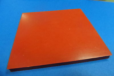 3mm Silicone 100mm square, Heat & Chemical A grade, Flexible, Red 1/8 THICK