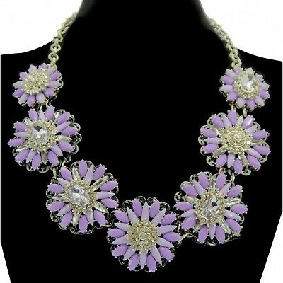 Very Sparkly Crystal & Stone Jewelled Flower Statement Necklace - Lilac Purple
