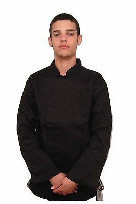 Dickies CW070301 Black Chef Jacket with White Checkered Trim Chef Coat