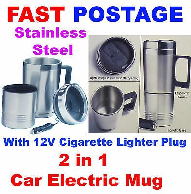 12V 12Volt 2 in 1 Car Heated Stainless Steel Travel Mug Kettle PLUS Drinking Cup