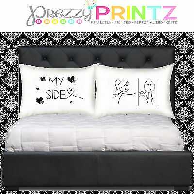 Personalised Pillow Cases His & Her Side Wedding Valentines Christmas Funny Gift