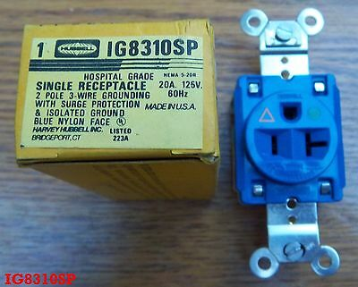 HUBBELL 20 AMP 125 V IG8310SP 5-20R Isolated Ground Surge Protection receptacle