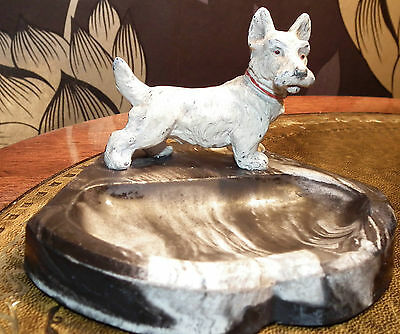 AUSTRIAN COLD PAINTED BRONZE SPELTER SCOTTISH TERRIER SCOTTY DOG Marble Signed