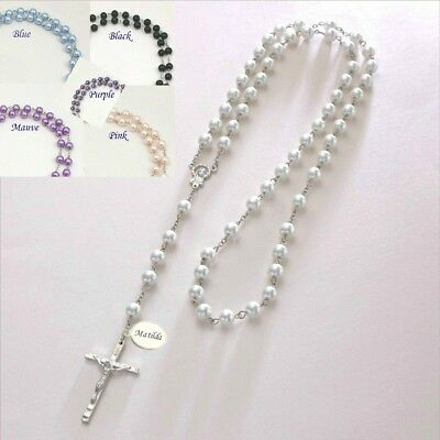 Personalised Rosary Beads, Pearl Rosaries with engraving, Catholic Baptism Gift