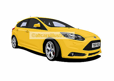 Ford Focus St Mk3 Graphic Car Art Print (Size A3). Personalise It!