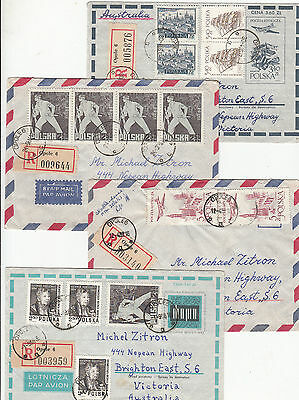 Stamps Poland on group of 12 covers some with stamps at back sent to Australia