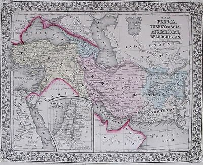 1871 ANTIQUE MITCHELL MAP: PERSIA TURKEY AFGHANISTAN, HAND-COLORED