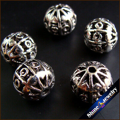 15 / 30 / 60 pcs Round Antique Spacer Beads Hollow Alloy Jewelry Findings 12mm