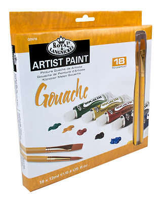 ROYAL LANGNICKEL GOUACHE ARTIST PAINTS & BRUSH SETS 12ml TUBES PACKS 12,18, 24