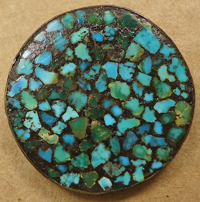 LARGE ANTIQUE BUTTON WITH TURQUOISE CHIPS IN BRASS FRAME BEAUTIFUL STONE VINTAGE