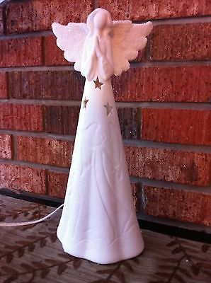 "13.5"" Pearl White Lighted Angel Praying Figurine"