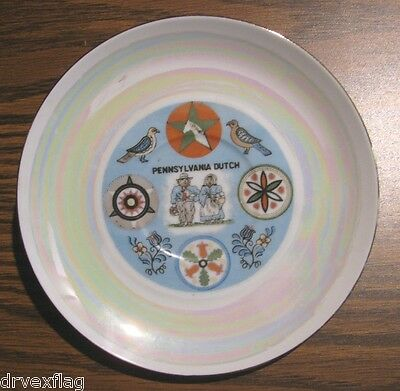 """Vintage Pennsylvania Dutch 6"""" Hex Plate with Rainbow infusion"""