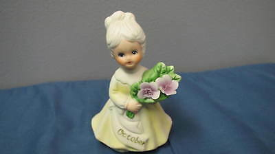 Vintage Figurine October Birthday Girl. Cake Topper / Collectible Yellow Gown