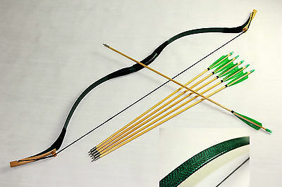 New Pretty Handmade Green Snakeskin 45lb Mongolian Longbow Recurve+6 wood arrows