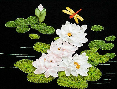 Lovely Beautiful White Lotus Flower Tuzzy-Muzzy 3D Ribbon Embroidery Kit 40*50CM