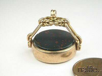 ANTIQUE ENGLISH LATE VICTORIAN 9K GOLD AGATE SEAL SPINNER FOB c1899