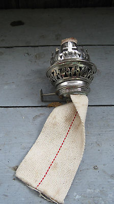 """VINTAGE OIL LAMP BURNER WITH WICK  1 1/2"""" THREADED MALE TIP"""