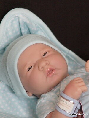 "New in Box Berenguer 14"" La Newborn 18540 Real boy doll Blue White Polka Dots"