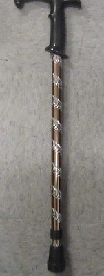 NEW METAL ADJUSTABLE WALKING CANE-BROWN & SILVER-RUBBER STOP BOTTOM-