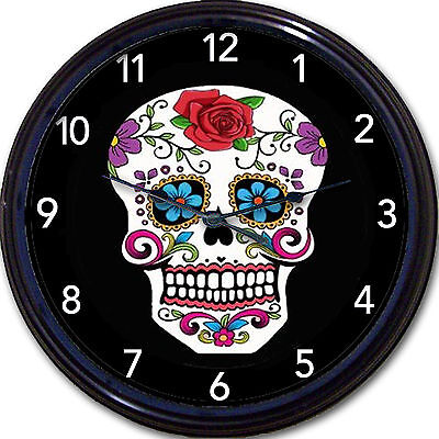 Sugar Cavalera Skull, Day Of The Dead, Dia De Los Muertos Clock, Mexican Art New
