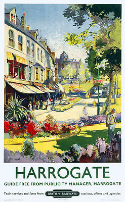 Vintage Rail travel railway poster  A4 RE PRINT Harrogate