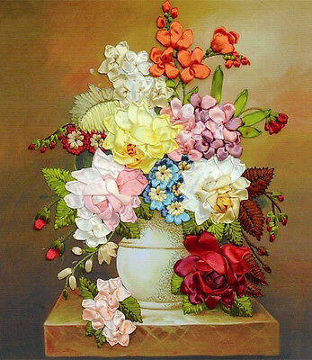 Sweet Cute Multicolour Rose Flower Tuzzy-Muzzy 3D Ribbon Embroidery Kit 50*60CM