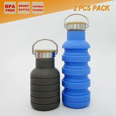 2x 600ml Outdoor Sport Office Water Bottle Collapsible Camping Hiking Kettle Cup