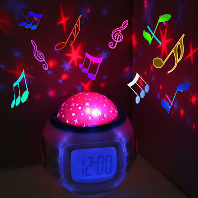 Music Starry Star Sky Projection Night Light Alarm Clock Calendar Thermometer