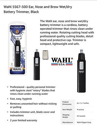 WAHL MEN'S NOSE EAR BROW HAIR TRIMMER PORTABLE PERSONAL SHAVER