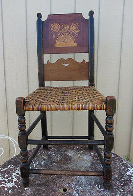 Early Antique German Wooden Carving Chair Marquetry Bird Roses c1820 Vierlande