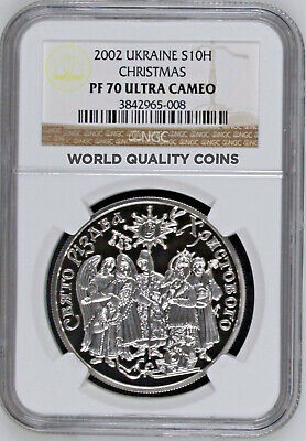 2002 Ukraine 10 Hryven 1oz Silver Coin Christmas NGC PF70 perfect condition