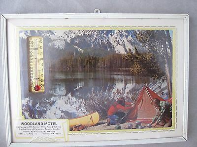 ADVERTISING PICTURE w/THERMOMETER / CAMPERS MT. RAINIER - PACKWOOD RANDLE WASH.