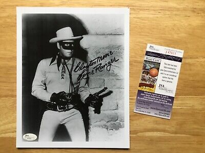 """(SSG) CLAYTON MOORE Signed 8X10 Photo as """"The Lone Ranger"""" with a JSA COA"""