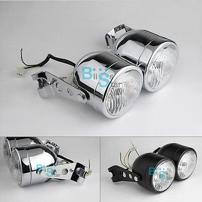 "8.5"" Universal Motorcycle Side-mounted Chrome Dual Headlights O3"