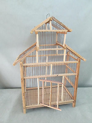 Antique Vintage Rustic Wood and Wire Decorative Bird Cage