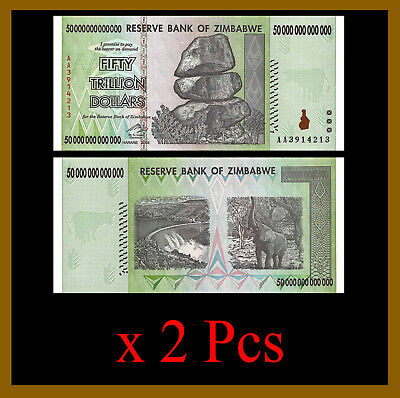 2 Pcs x Zimbabwe 50 Trillion Dollars, AA/2008 = 100 TRILLION Unc