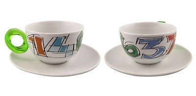 Guzzini ☕️ Porcelain Large Coffee Cups & Saucers Boxed Set of 2