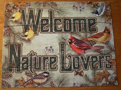 WELCOME NATURE LOVERS Cardinal Birds Acorn Lodge Pine Cone Tree Cabin Sign Decor